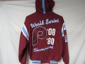 Philadelphia Phillies Mens L 2 Time World Series Champions Hooded Jacket B1 80
