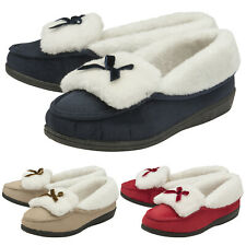 DUNLOP - Womens Fleece Soft Sole Poly Suede Moccasin Bow Slippers