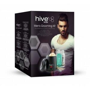HIve Mens Waxing Grooming Kit Black Wax Heater Warmer Lotion Hot Wax Sticks