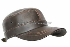 New Unisex Brown 2 Holes Castro Cap High Quality Real Genuine Leather Beret Hat