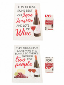 Cotton Kitchen Wine Themed Tea Towels * A Choice of 2 Designs