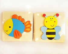 2 pk Wooden CHUNKY Insert First Early Puzzles, BEE & FISH - Educational Toy