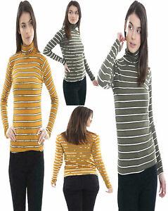Ladies Polo Neck Stripe Ribbed Print Jumper Top Womens Long Sleeves Shirt Tees