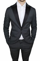 SUIT COMPLETE MAN QBR COTTON SATIN BLACK GRAY STRIPED DRESS SMOKING ELEGANTE
