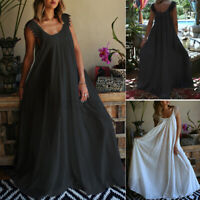 UK Women Sleeveless Sundress Flare Cocktail Evening Party Lace Dress Long Maxi