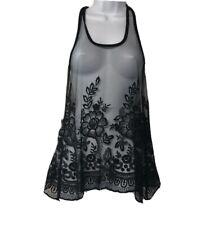 Grass Collection Women's Racerback Black Mesh Sleeveless Swing Tank Top Size S