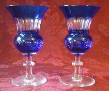2 Gorgeous Cobalt Blue Bohemian Glass Vases