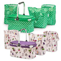 4pc Sachi Insulated Collapsible Shopping Basket with Folding Reusable Tote Bags