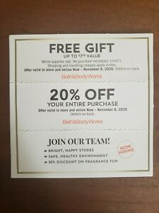 Bath & Body Works Coupons Gift + 20% off  Nov 8, 2020