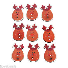 50PCs Cardmaking Christmas Reindeer Wooden Button 2 Holes Scrapbooking Crafts