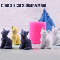 Nette 3D Katze Silikon Seife Kerzenform Fondant Schokolade DIY Dekor Backform