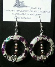 Pretty wire wrap iridescent gray with purple earrings by Sandy of Scottsdale