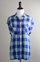 ANTHROPOLOGIE $128 Rails Plaid Cuffed Sleeve Button Up Shirt Top Size Small