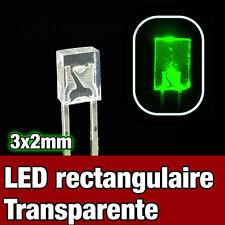 325V/25# LED rectangulaire 3x2 Vert 25pcs - Rectangular LED Green