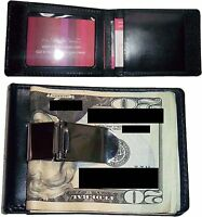 Lot of 2 New Leather Money Clip credit cards ID window metal clip Bifold wallet