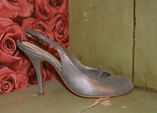 MARC JACOBS! GLITTERY SILVER METALLIC STILETTO SLINGBACK SHOES! NEW! $398! SZ40