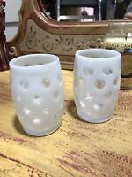 """VINTAGE 1940'S FENTON FRENCH OPALESCENT COIN DOT TUMBLER  4"""" set of 2"""