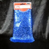 "Mini Christmas Tree Skirt Blue 18"" Solid Metallic Glitter Fringe Trim"