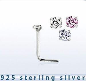 TINY STERLING SILVER 925 C/Z NOSE STUD PRONG SETTING  L SHAPE 1.5MM C/Z 52