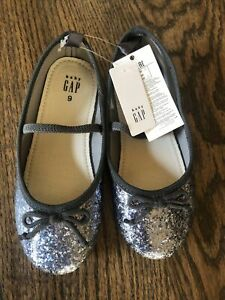 NWT Baby Gap girl gray silver glitter Ballet mary jane HOLIDAY dress shoes 9