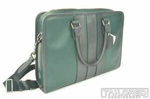 NEW - COACH Bond Green Black Smooth Leather Shoulder Briefcase Bag 35430