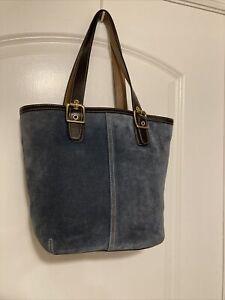 COACH handbag Bucket Bag Purse Blue Suede leather shoulder purse #9579 tote EUC