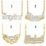 Personalized Sterling Silver 14K Gold Script Double ANY NAME Plate Necklace NEW
