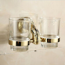 Bathroom Stainless Steel Toothbrush Holder Glass Cups Wall Mounted Hanger Shelf