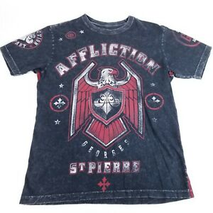Affliction Live Fast Small Georges St. Pierre Eagle Factory Distressed T-shirt