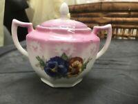Vintage Eleanor Bavaria Hand Painted Lustreware Sugar Bowl W/Lid