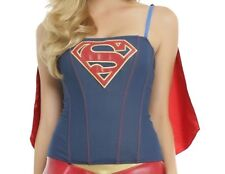 DC COMICS SUPERGIRL BUSTIER CORSET COSPLAY TOP AND CAPE HALLOWEEN COMIC CON SZ M