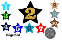 bc1ef9251c0791 Bügelbild Stern mit Wunschzahl Geburtstag Birthday Aufbügler Flex Glitzer  Flock