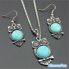 Cute Turquoise Owl Pendant Tibet Silver Earrings Necklace Jewelry Set Gifts New