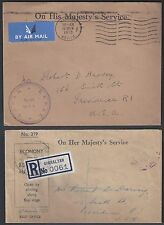 Uk Gb 1950's Four Post War Ohms Covers To Us & Lanada On Registered Gibraltar
