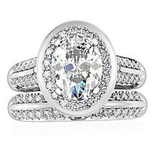 925 STERLING SILVER Oval Halo Simulated Diamond Engagement 2 Ring Set Size 7 N