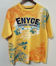 ENYCE Rare Mens Short Sleeve T-Shirt Size XL Yellow Color Graphic Print