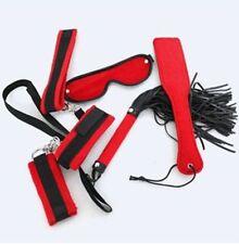 Black & Red 5 Piece Bondage Set Kit - Cuffs Blindfold Collar Fetish Sexy Kinky