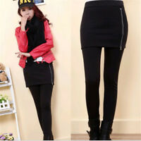 Women Warm Winter Thick Skinny Slim Footless Leggings Stretch Pants With Skirt