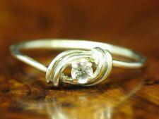 925 Sterling Silber Ring mit Bergkristall Besatz / Echtsilber / 1,0g / RG52,5