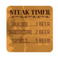 Steak Timer Patio Sign, Metal Outdoor Garden Decor Beach Pool Party Plaque