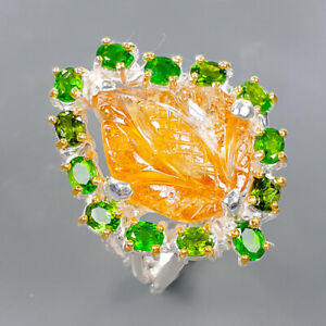 Carving jewelry Art Citrine Ring Silver 925 Sterling  Size 7.5 /R177662