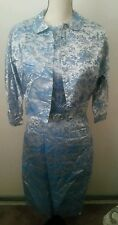 Vintage RARE 1950s 1960s Satin Turquoise  Oriental Pattern Dress And Jacket S