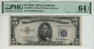 1953 A $5 SILVER CERTIFICATE STAR NOTE FR.1656* *A BLOCK PMG CHOICE UNC 64 EPQ