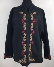 Icelandic Design Womens Black Wool Lined Sweater Cardigan Jacket XL
