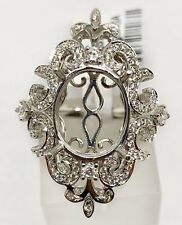 Art Nouveau 14k White Gold Diamond Ring Semi Mount Oval Center 11×9MM