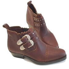 Timberlands Women's Ankle Boot Size 9/41 Cowgirl Western Brown Leather Studded