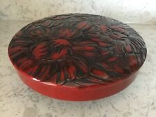 Vintage 6 pieceJapanese Red / Black Floral Lacquerware Lazy Susan