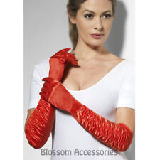 A783 Long Red Temptress 1920s Costume Gloves Burlesque Flapper