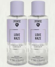 2 Victoria's Secret Pink LOVE HAZE Rainkissed Petals & Airy Musk Body Mist