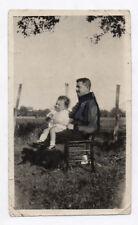 PHOTO RETOUCHÉE PEINTE Homme Étrange Curiosité Bébé Retouche Pinceau 1923 Encre